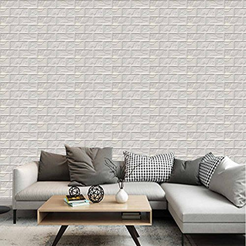 White 3D Foam Brick Wallpaper Wall Tiles Panels Peel Stick by POPPAP 12 (Puzzle Wall Panel)