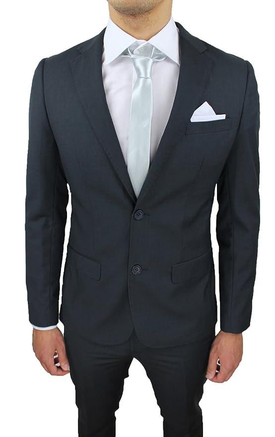 Abito Completo Uomo Sartoriale Grigio Scuro Slim Fit Elegante con Pochette  da Taschino  Amazon.it  Abbigliamento 7067c305f00