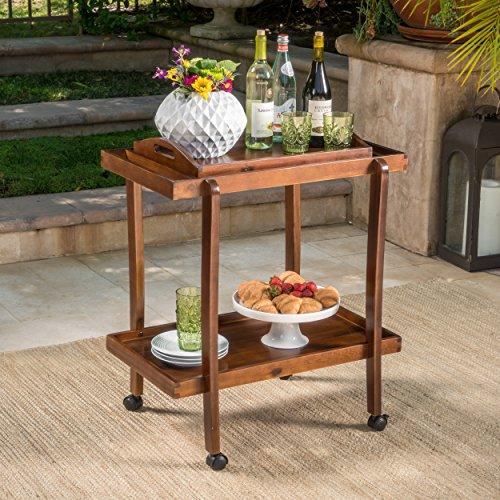 Patty Rich Mahogany Acacia Wood Bar Cart with Removable Top Tray (Cart Removable Tray Bar With)