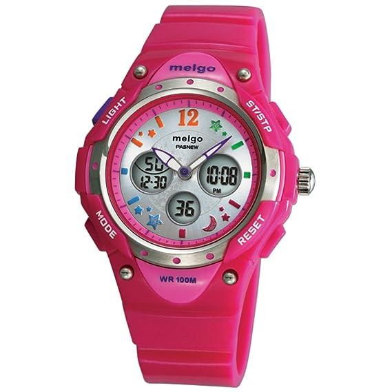 Reloj digital de los niños/100Mesa al aire libre impermeable metros/LEDForma femenina de forma masculina dual-rosa: Amazon.es: Relojes