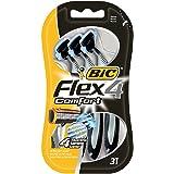 BIC Flex 4 Comfort Rasierer Set Männer, 4 Klingen, Für empfindliche Haut, 3 Stück
