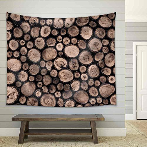 Wall Background Made from Log Wood Fabric Wall
