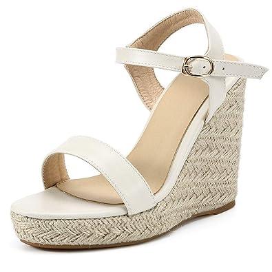 eb54813fbd62 OverDose Sandales Espadrilles Compensées Femme Talon Plateforme Bride  Cheville, Été Mode Bout Ouvert Boucle Chaussures