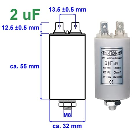 LP Kondensator Motorkondensator Anlaufkondensator Arbeitskondensator 450V 2µF