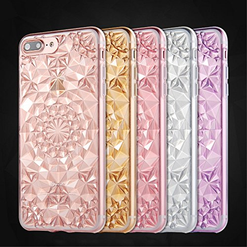 SULADA Luxury Crystal Sparkle 3D Diamond-shaped Design Flexible TPU Phone Tasche Hüllen Schutzhülle - Case für iPhone 7 Plus - Purple