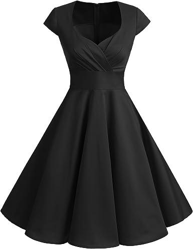 TALLA M. Bbonlinedress Vestido Corto Mujer Retro Años 50 Vintage Escote Black