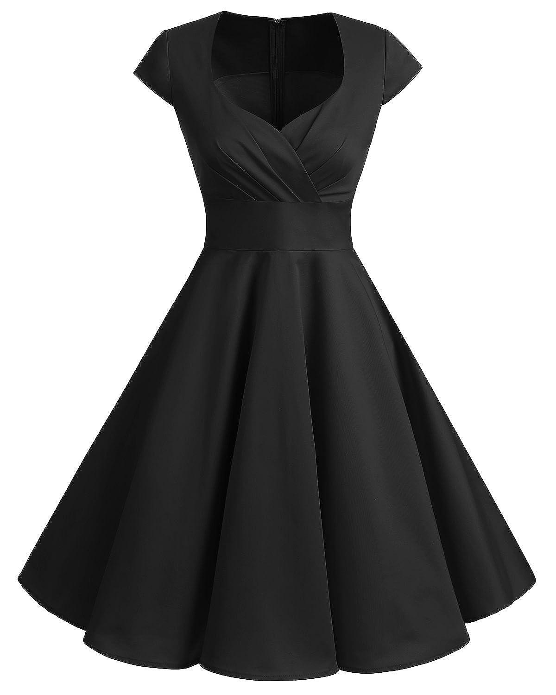 TALLA M. Bbonlinedress Vestido Corto Mujer Retro Años 50 Vintage Escote En Pico Black