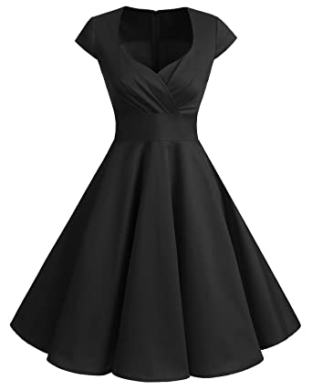 d04158b4182 bbonlinedress Women s 50s 60s A Line Rockabilly Dress Cap Sleeve Floral  Vintage Swing Party Dress Black