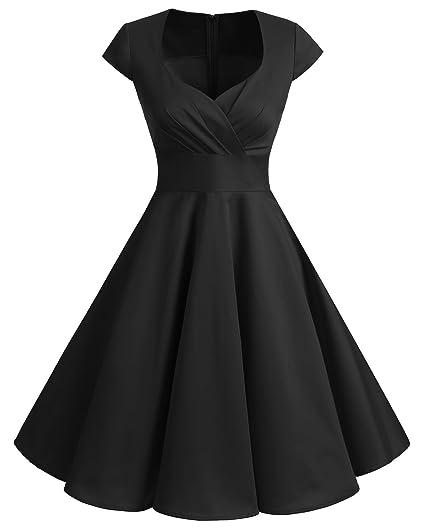 e876880504d7 bbonlinedress Women's 50s 60s A Line Rockabilly Dress Cap Sleeve Floral  Vintage Swing Party Dress Black
