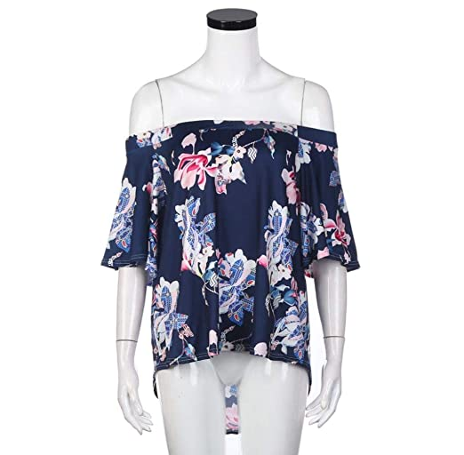 Blusa Mujer Fashion Anchas Floreadas Tops Elegantes Manga Corta Túnica Cuello Redondo Fuera del Hombro Casual Vintage Camisas Fiesta Verano Camiseta: ...