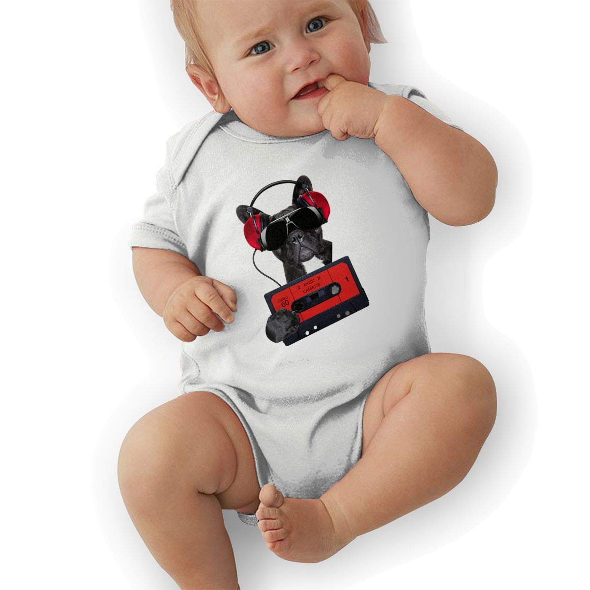 Newborn Baby Boys Bodysuit Short-Sleeve Onesie Black Puppy Street Style Print Jumpsuit Summer Pajamas