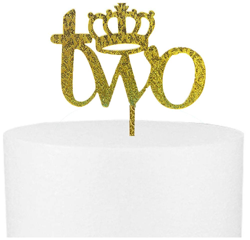 CaJaCa TWO Cake Topper For 2nd Birthday Decoration Boy And Girl Anniversary Party Decorations
