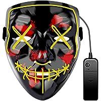 JCT Halloween LED Máscaras Purga Grimace Mask Horror Mask Scary LED Ilumina Máscaras para Halloween, Fiestas de…