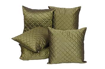 Buy Fazar Creations Dupion Silk Fabric Olive Green Plain Cushion ...