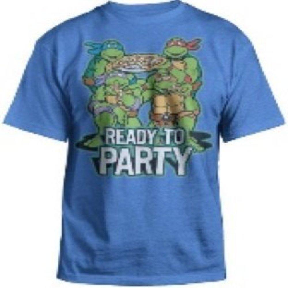 70e641341 Amazon.com: Nickelodeon Teenage Mutant Ninja Turtles Boys Kids Pizza 'Ready To  Party' T Shirt (8, Blue): Clothing