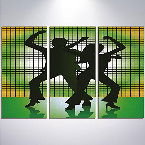 3 Pieces Modern Painting Canvas Prints Wall Art For Home Decoration 70s Party Decorations Print On Canvas Giclee Artwork For Wall DecorSilhouette Illustration of Couple Dancing in Disco Decorative-Lig