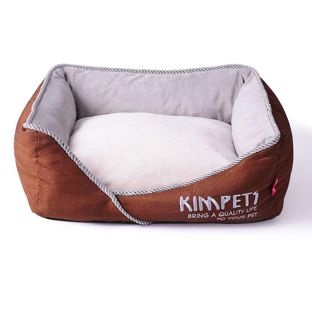 BROWN MGCHOME dog bed Pet Bed, Autumn and Winter Warm Granule Blended Fabric Nonslip Removable Washable Kennel (color   BROWN, Size   M)
