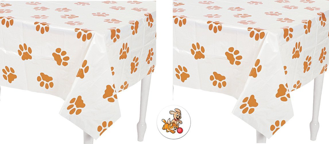 2 Puppy Paw Print Tablecovers Plus a Cool Puppy and Kitten Button