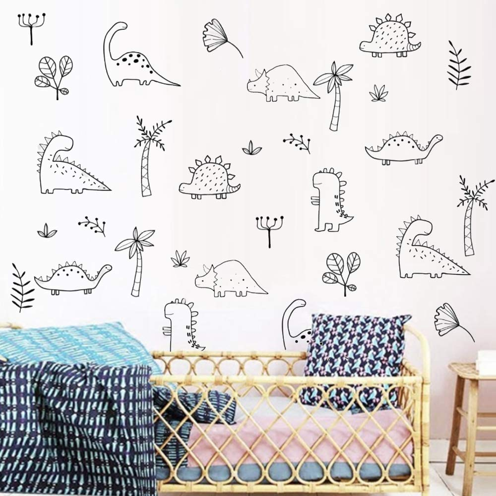 Amazon.com: Dinosaur Wall Decals For Kids Room Nursery Bedroom Wall Art Dino  Jungle Stickers Home Decor (6 Counts Dinosaurs Plus 9 Counts Plants): Baby