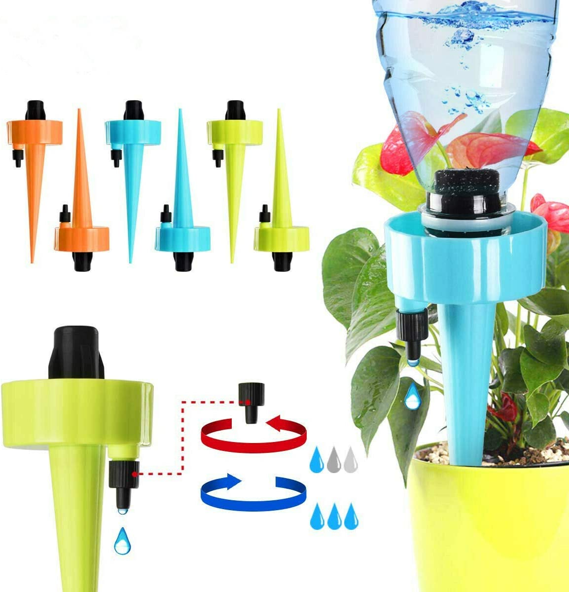 AiBeiS Adjustable Self Watering Spikes. Automatic Vacation Drip Irrigation Watering Devices,Care Your Indoor & Outdoor Home Office Plants-6 Pack
