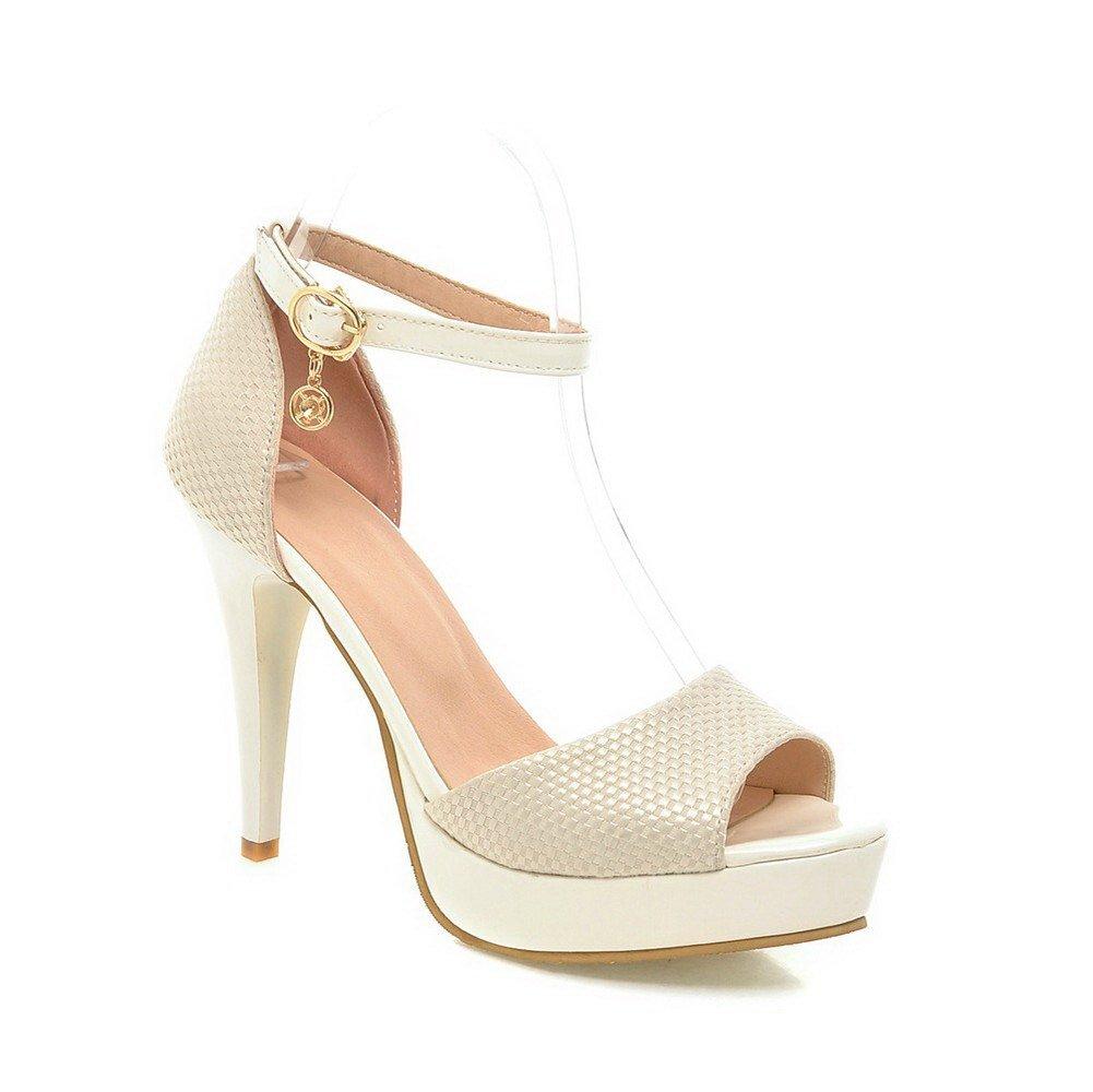 AllhqFashion Women's Buckle Open Toe High-Heels Blend Materials Solid Heeled-Sandals, Beige, 38
