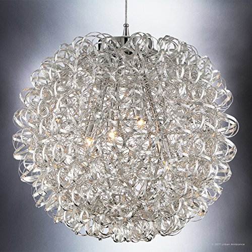 Luxury Modern Chandelier, Large Size: 23.5''H x 23.5''W, with Eclectic Style Elements, Polished Chrome Finish and Crinkled Metal Ribbon Shade, Includes G9 Xenon Bulbs, UQL2611 by Urban Ambiance by Urban Ambiance (Image #2)