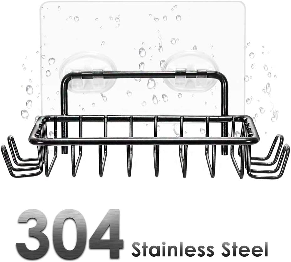 Nieifi Soap Dish Holder Stainless Steel Black Adhesive for Shower