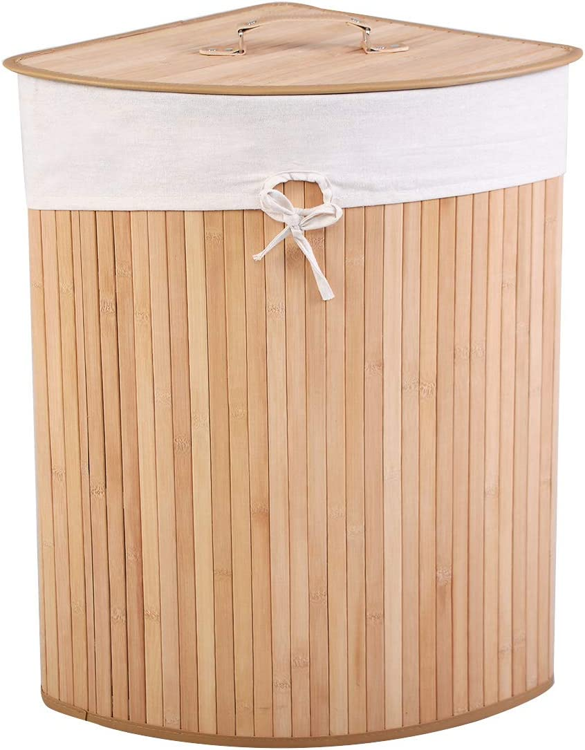 Giantex Corner Laundry Hamper W/Lid, Handle and Removable Cloth Bag for Cloth Storage and Organize Bamboo Laundry Basket Bin (Beige)