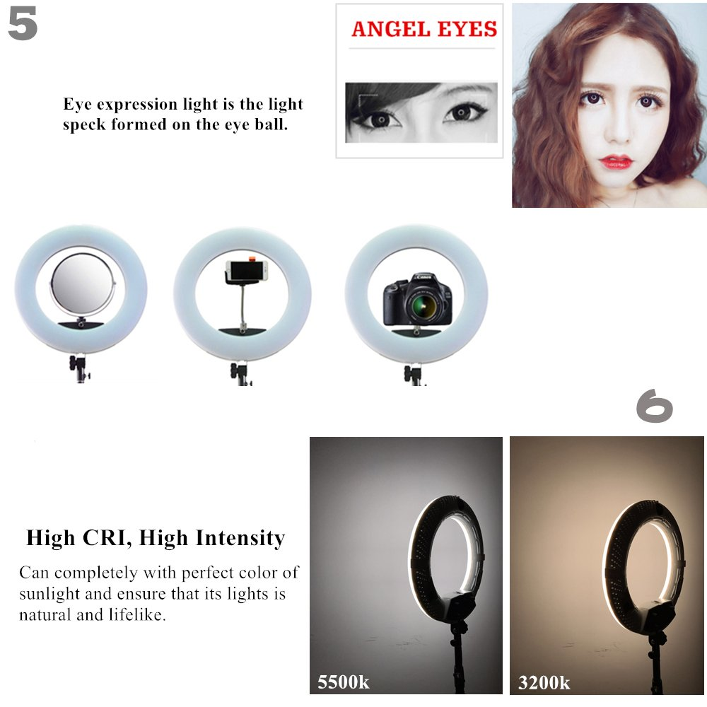 Yidoblo 96W 18'' LED Ring Lights Kit FD-480 with Makeup Mirror,Light Stand,Camera Phone Holder & Carrying Bag,Dimmable Bi-Color Lighting for Photo Studio Video Portrait Film Selfie YouTube Photography by yidoblo (Image #4)