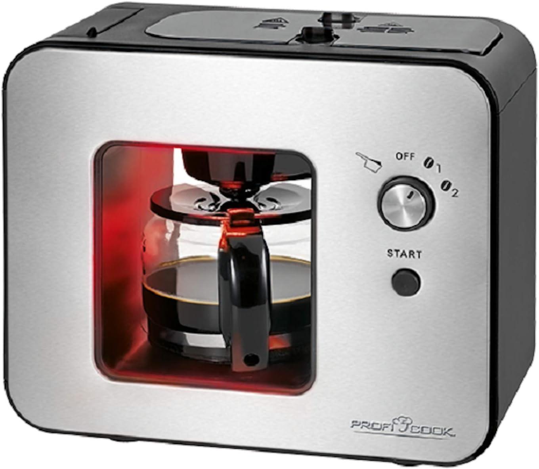 Cafetera con molinillo de cristal, 0,5 L, acero inoxidable (900 W, cafetera automática 5 tazas, placa calentadora, color negro): Amazon.es: Hogar