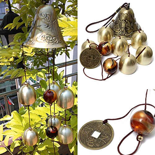 Yard Bell (iHappy Outdoor Amazing 6 Bells Copper Wind Chimes Home Yard Veranda Valentine's Day Gift)