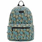 Song Women Travel Bag Satchel Shoulder School Canvas Backpack Bag(Pineapple,Large)