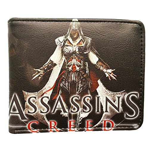 [Assassin's Creed (Black Flag, Brotherhood, Revelations) Leather Bi Fold Wallet with Gift Box] (League Of Assassins Costume)
