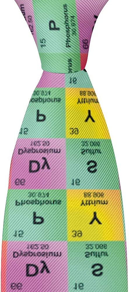 Mens Fashion Novelty Skinny Polyester Textile Neckties Science Funny Elements Periodic Table Biology Physics Business Wedding Party Neck Ties for Men Teen Boys