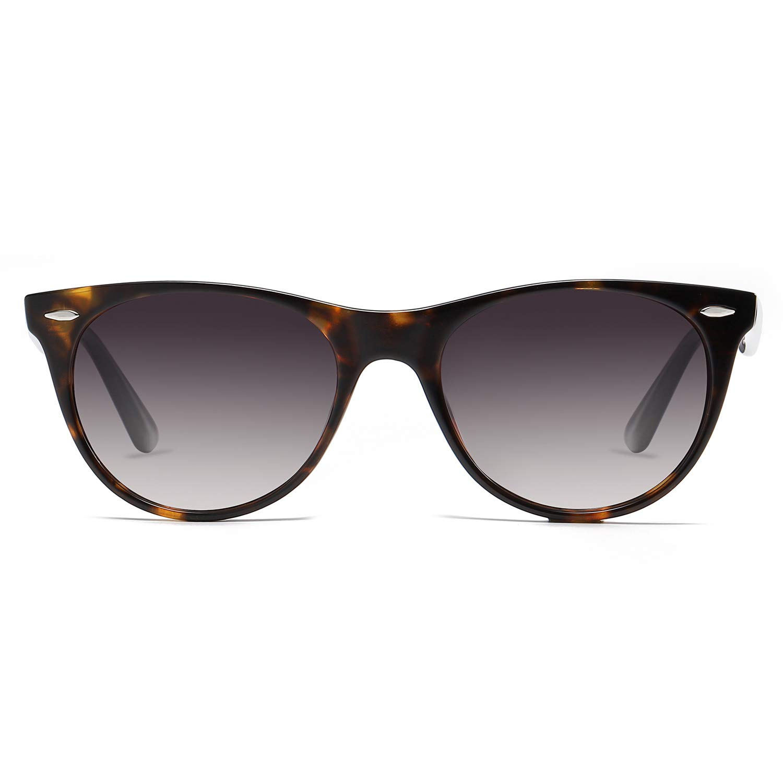 SOJOS Classic Retro Vintage Polarized Sunglasses with Rivets UV400 Lens CELEB SJ2076 with Dark Tortoise Frame/Gradient Grey Lens by SOJOS