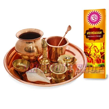 Om Pooja Shop Copper Divine Puja Thali Set for Daily Use(Multicolour) Puja Articles at amazon