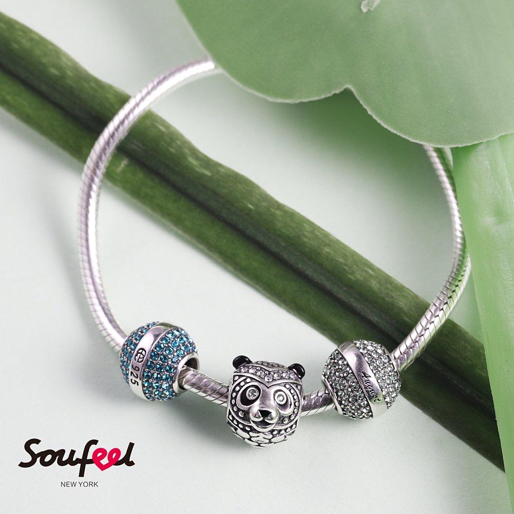 Soufeel Talisman Panda Charm en Argent Sterling 925 avec Swarovski Cristal Compatible Europ/éen Bracelet pour Charms Colliers Bracelets