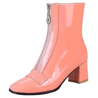 AIYOUMEI Damen Lackleder Stiedeletten mit Reißverschluss und 6cm Absatz Kurzschaft Stiefel GWuihg