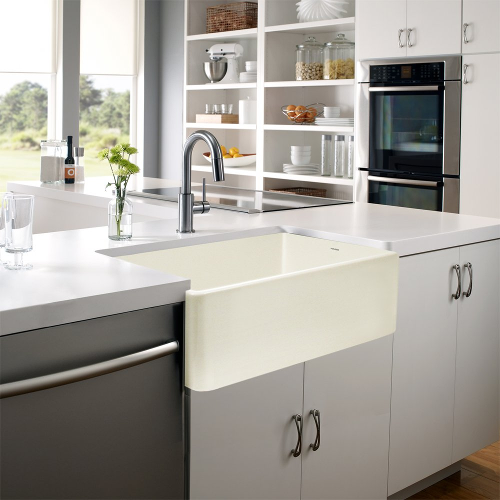 Houzer PTG-4300 BQ Platus Series Apron-Front Fireclay Single Bowl Kitchen Sink, 33'', Biscuit by HOUZER (Image #3)