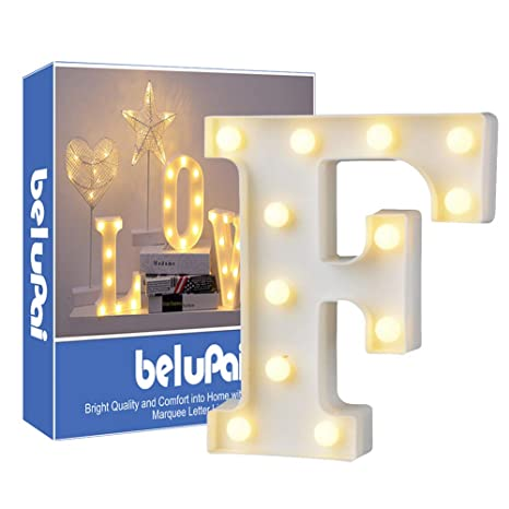 Led Letters Lights Alphabet Marquee Decoration Light Up Sign Operado con pilas para recepciones de boda de fiesta Holiday Home & Bath,carta F