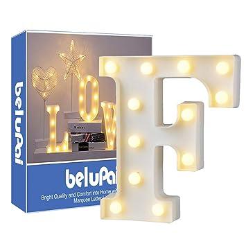 Led Letters Lights Alphabet Marquee Decoration Light Up Sign Operado con pilas para recepciones de boda de fiesta Holiday Home & Bath,carta F