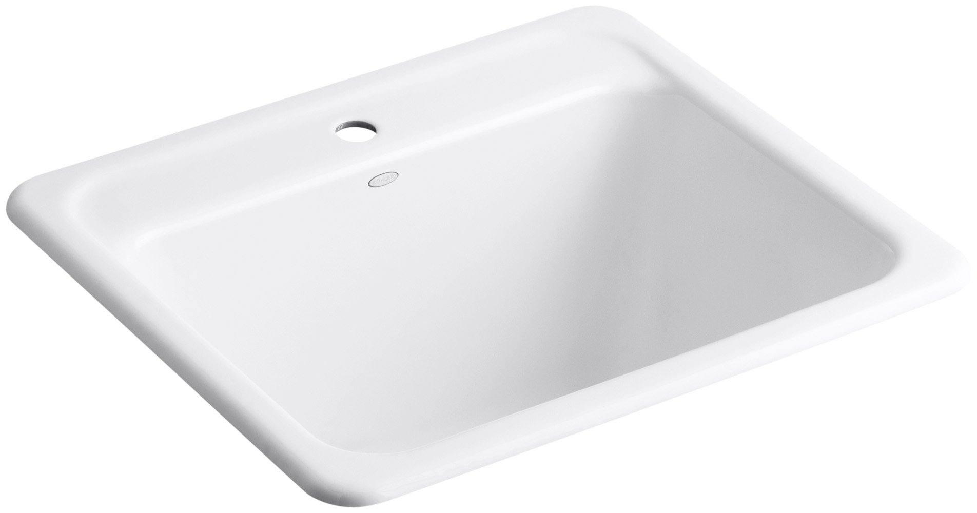 KOHLER K-19017-1-0 Glen Falls Top-Mount/Undermount Utility Sink with Single Faucet Hole, White by Kohler