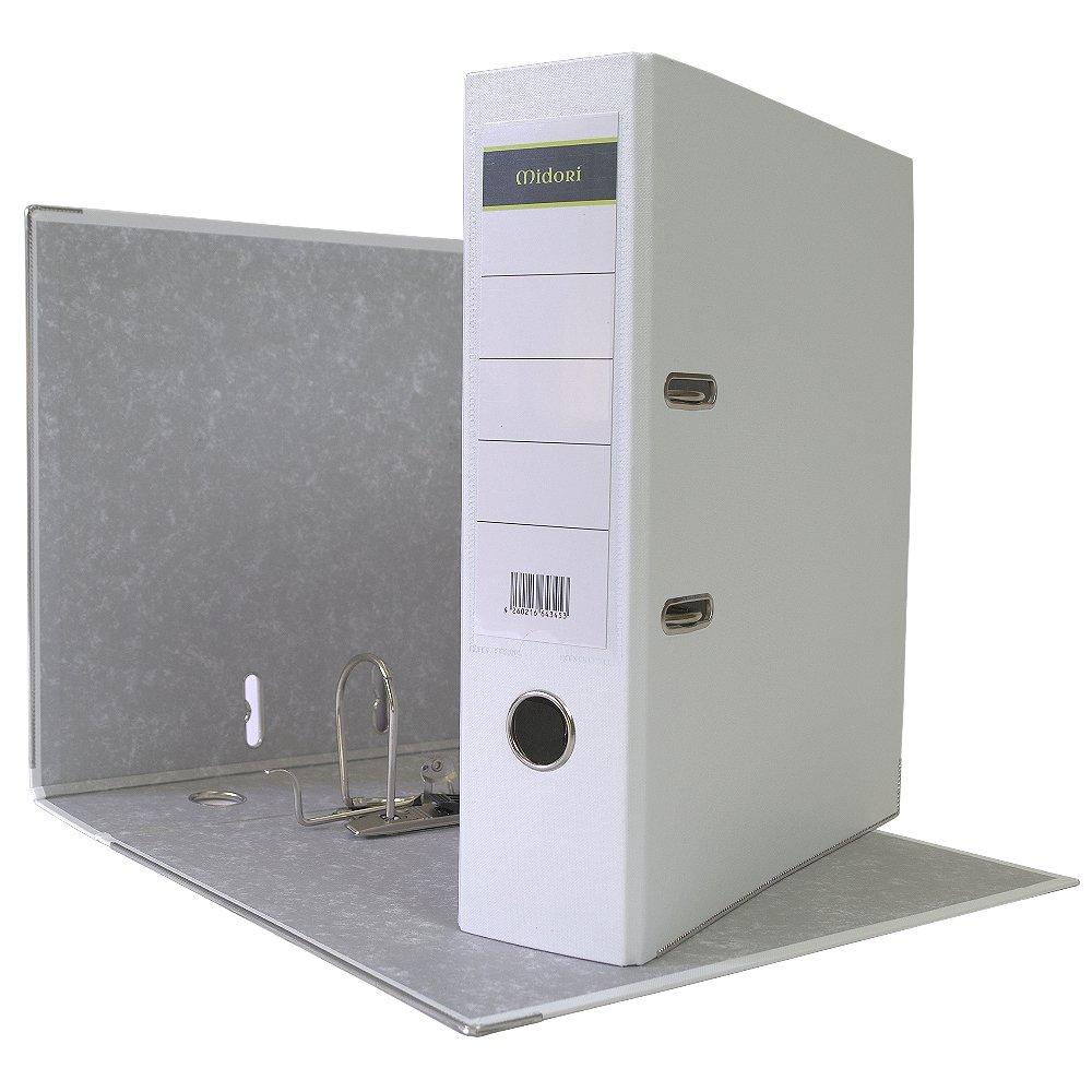 15 x Midori Ordner Breit im Din A4 Format 8 cm aus PP Kunststoff in Weiss