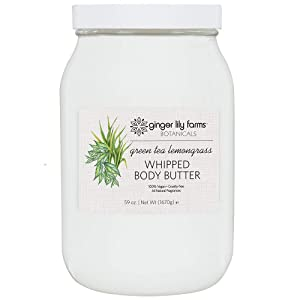 Ginger Lily Farms Botanicals Green Tea Lemongrass Whipped Body Butter, Deeply Hydrating, Non-Greasy, Residue-Free, 59 Oz