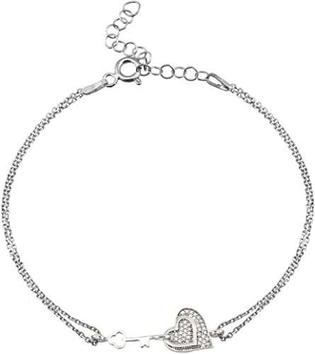 AQILA Damen Armband Schlüssel meines Herzens Zirkonia 925 Silber