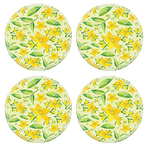 Liili Round Coasters Non-Slip Natural Rubber Desk Pads Elegance Seamless beige and Hypericum with green tea IMAGE ID 11289025
