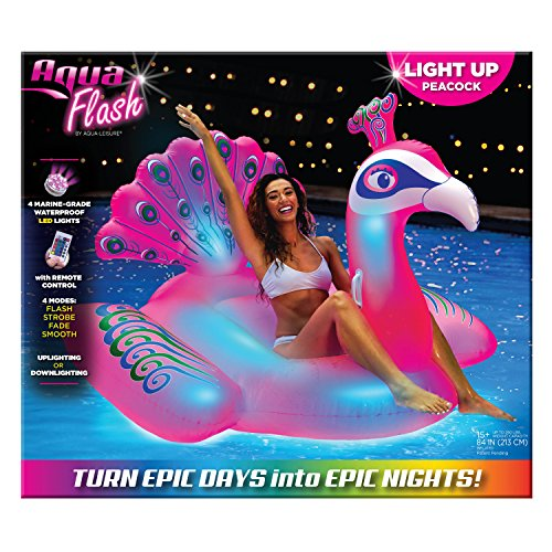 - Aqua Oversized 6 Foot, Princess Peacock, 4 Mode, 16-Color LED Light-Up, Ride On, Inflatable Pool Float Lounge