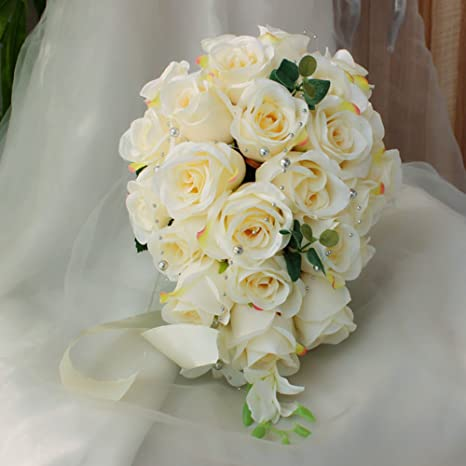Bouquet Sposa Total White.Amazon Com Jasminelover Artificial Rose Cascading Bridal Bouquet