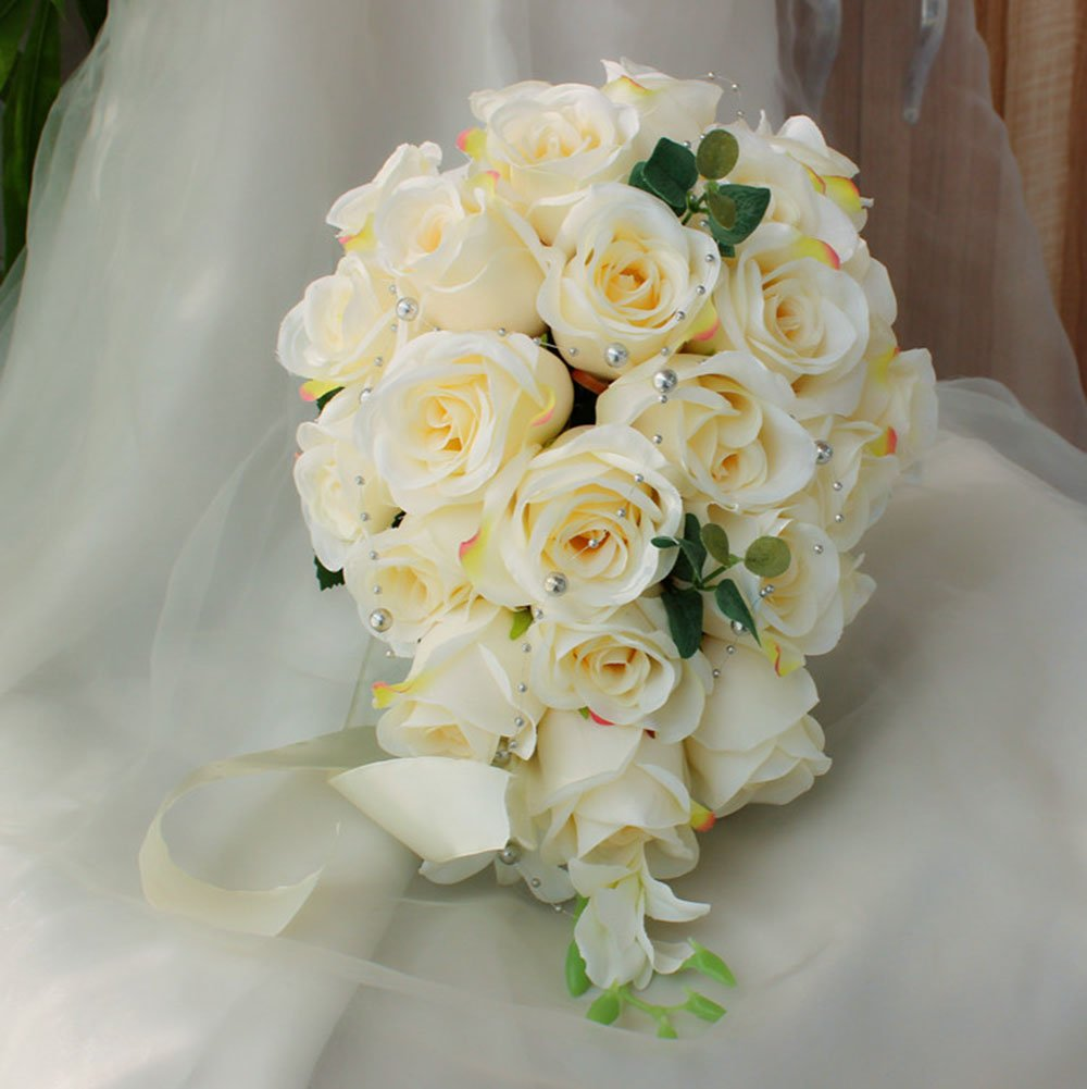 Bluecastle Artificial Rose Cascading Bridal Bouquet -26 Heads Flower for Wedding Bouquet, Flowers Bunch Hotel Party Garden Floral Decor (Milk White)