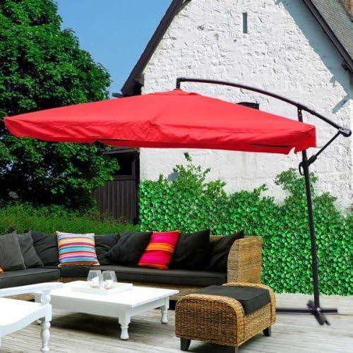 9 x 9 cm cuadrado rojo poliéster Offset plegable paraguas 7 ¾ -ft altura mástil de aluminio manivela de inclinación W parasol impermeable para al aire libre muebles de jardín piscina mercado